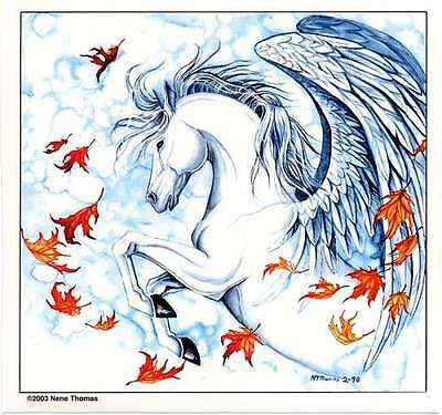 WHITE PEGASUS and FALL LEAVES VINYL STICKER/DECAL Waterproof Indoor/Outdoor