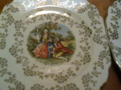 6 Royal China Warranted 22 Kt. Colonial Courtship Square Bread Dessert Plates