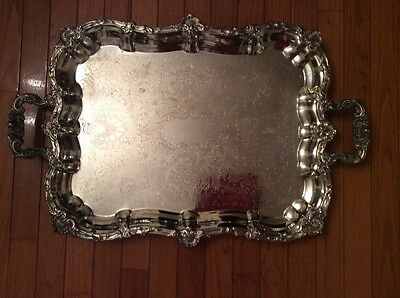 Vintage Sheffield Silver Plate Waiters Tray Footed Handles