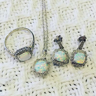 Womens genuine diamond and opal necklace earrings ring set Sterling silver 925