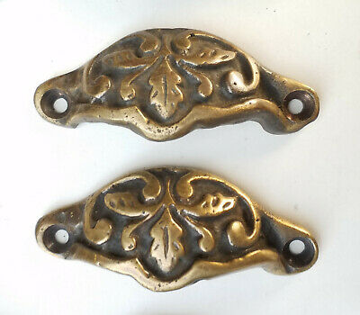 """2 Antique Victorian Style Brass Apothecary Bin Cup Pulls Handles 2-7/8"""" w. #A3"""