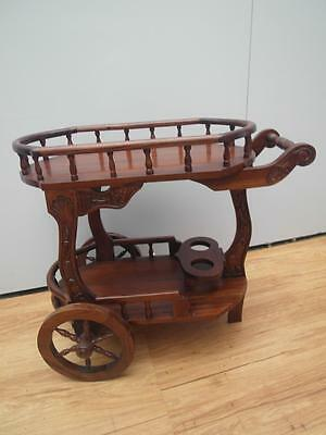 Gorgeous SOLID Timber HARDWOOD Drinks TEA Trolley CARVED Detail Adelaide