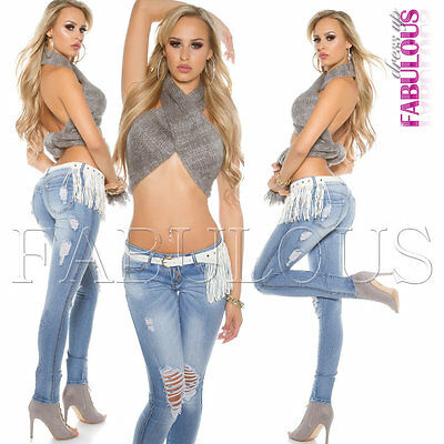New Women's Ladies Ripped Distressed Jeans Denim Size 6 8 10 12 14 XS S M L XL