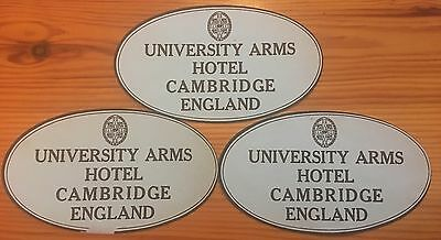 3 luggages labels, University Arms, Cambridge, England