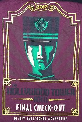 Disneyland Tower Of Terror Hollywood Tower Hotel Final Check Out T Shirt 3XL DCA