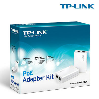 Tp-Link Tl-Poe200 Power Over Ethernet Adapter Kit, 1 Injector And 1 Splitter
