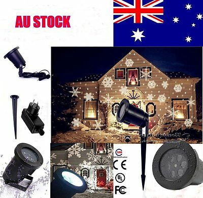 Christmas Light SNOWFLAKE Shower Laser LED Motion Projector Outdoor Party Garden