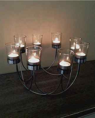 New Glass Tea Light Candle Holder Wedding Christmas Table Centrepiece 8 candles