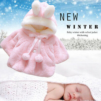 Baby Infant Girl Kids Fur Winter Warm Coat Cloak Thick Jacket Outerwear Snowsuit