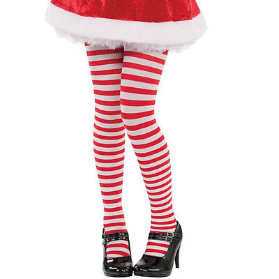 Childs Christmas Red White Candy Striped Fancy Dress Party Accessory Tights