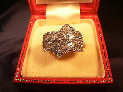 9ct Gold Brilliant and Baguette Cut Diamond Ring 1.5 cts Size N
