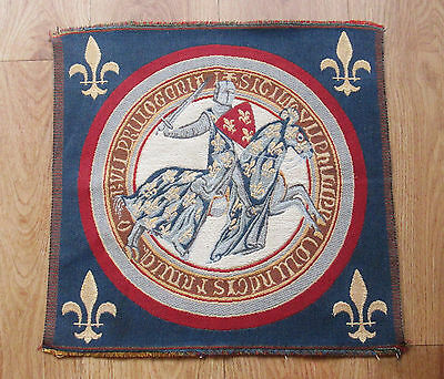 Vintage French Medieval Knight Tapestry - Ideal To Frame Wall Hanging Or Cushion