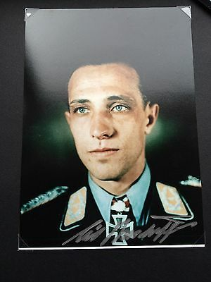 WW2 Luftwaffe Ace Erich Rudorffer signed photo