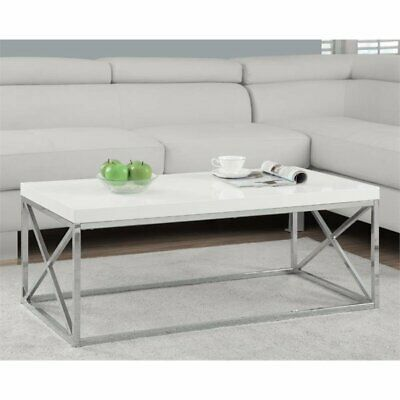Monarch Coffee Table in Glossy White and Chrome