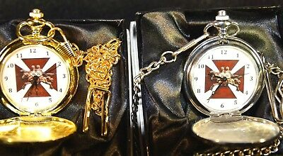 MASONIC KNIGHTS TEMPLAR POCKET WATCH SILVER and GOLD WITH or WITHOUT ENGRAVING