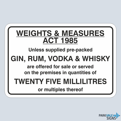 Weights And Measures Act 1985 Sign