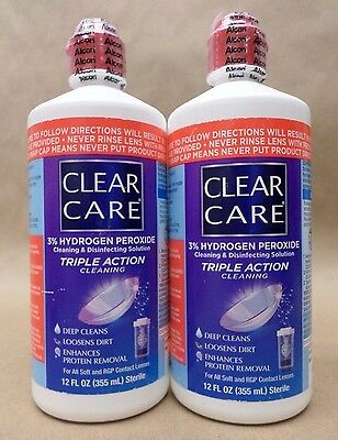 Alcon CLEAR CARE Triple Action Hydrogen Peroxide 12 fl oz LOT OF 2 Exp 02/17 +