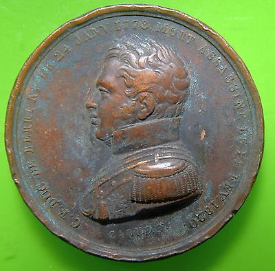 RARE 1820 French  Charles Ferdinand Duke of Berry Copper Medal, Raymond Gayrard