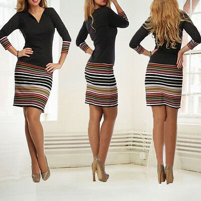 New Womens Evening Party Dress Ladies Long Sleeve Bodycon Cocktail Pencil Dress