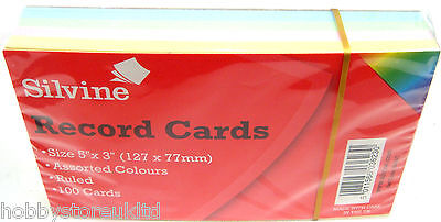 "Silvine Coloured Record Cards 5"" x 3"" Ruled Flash Cards Revision Flash Cards New"