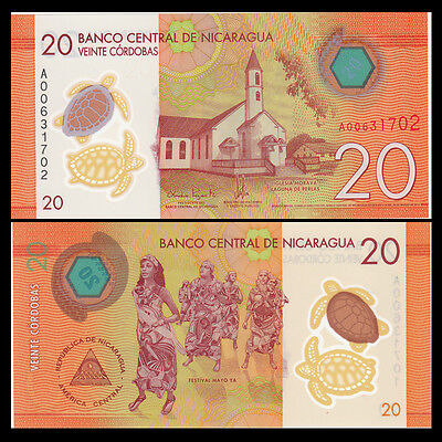 Nicaragua 10 Cordobas 2015 year Polymer BrandNew Banknotes