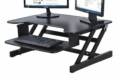 Rocelco ADR Sit To Stand Adjustable Desk Riser With Retractable Keyboard Tray