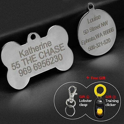Round Bone Shape Personalised Dog Tags Stainless Steel Pet Tag Free Engraving