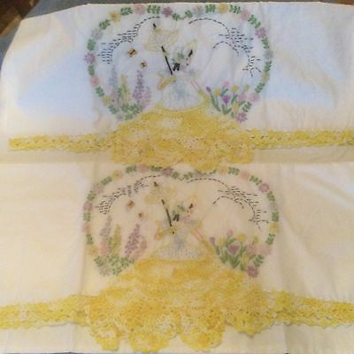 Vintage Embroidered Crocheted Pillowcases