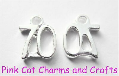 5 x Silver Plated NUMBER SEVENTY '70' BIRTHDAY 13mm Charms Pendants Beads