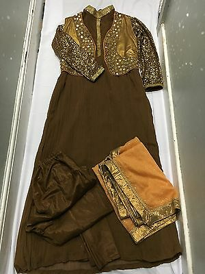 Indian Maxi Dress Size 12-14 Used 4pc Mirror Work Waistcoat