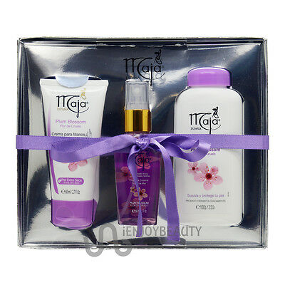 Maja Plum Blossom Gift Set Hand Cream& Fragrance Mist& Talcum Powder wFREE NFile