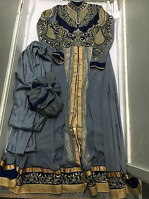 Indian Anarkali Dress Size 12-14 Party Dress Used Navy Blue Gold Grey