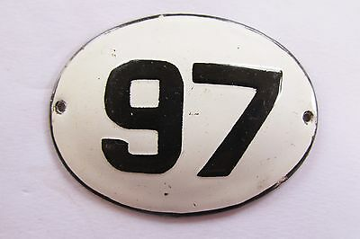 Old Vintage Antique Enamel Porcelain Sign House Number 97
