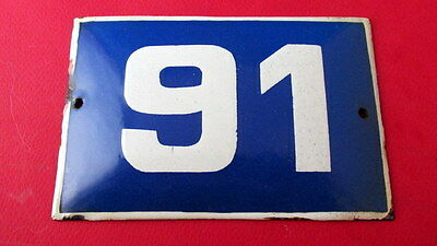 Old Vintage Door House Blue Porcelain Enamel Number 91 Tin Sign Plate