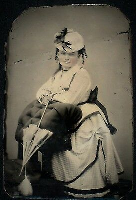 Vintage1800's 1/6th Tintype of Well-Dressed Young Lady/Hat & Parasol