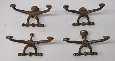 Four Antique Steel Hall Seat Coat Hooks