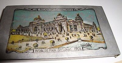 1904 St. Louis Worlds Fair Poly Chrome Lithographed Aluminum Card Holder w Cards