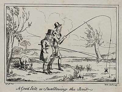 CRUIKSHANK 1835 - Swallowing the Bait Fischen Angeln Angelrute Fishing Pole Fish