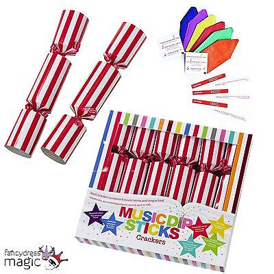 "Talking Tables 6 Musical Family Fun Dipstick Christmas 10"" Crackers Snap Trivia"