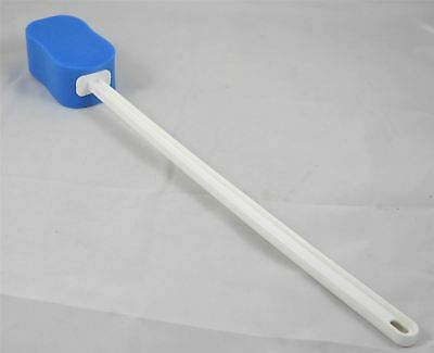 Contoured Long Handled Blue Bath Sponge on a Stick to Aid Bathing and Washing