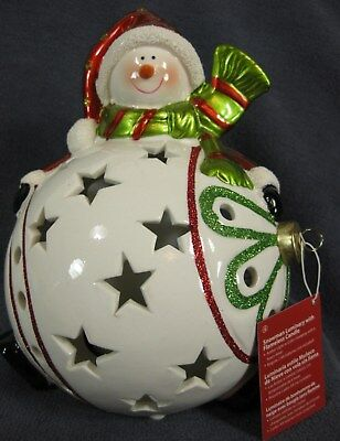 Christmas Snowman Luminary Flameless Candle 6 Hour Timer Amber or Color Changing