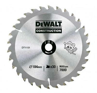 Dewalt Dt1151 Construction Saw Blade 184Mm X 30 Tooth 16Mm Bore