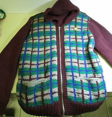 Vintage Hand Knitted Wool Zippered Cardigan Sweater - Grand Falls Curling Club