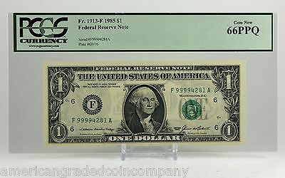 $1 FRN 1985 Seriously High numbered Note with Quad 9999!!  PCGS 66 PPQ!