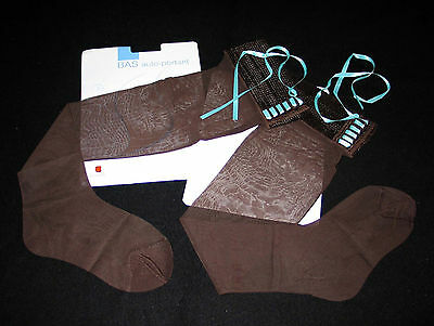"Bas Stay-Up T 2 Nylon Lycra Fantaisie Eleonore ""cannelle Phildar"" Chocolat Sexy"