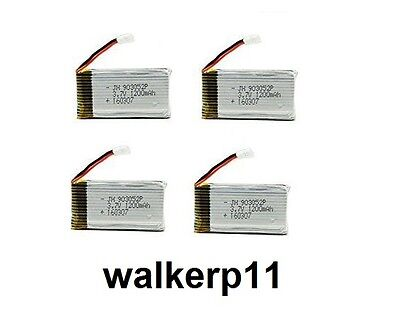 4 X 3.7v 1200mah LiPo batteries for Drone / RC with Losi Micro T Connector