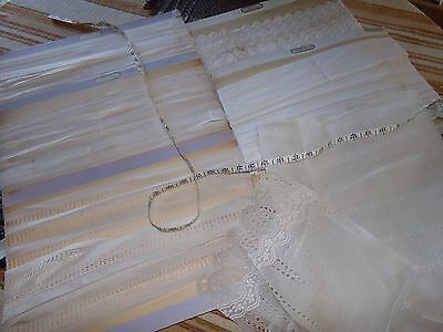 Antique Swiss Nainsook French Embroidered Trim Edging Insertions Asst. 60 YARDS
