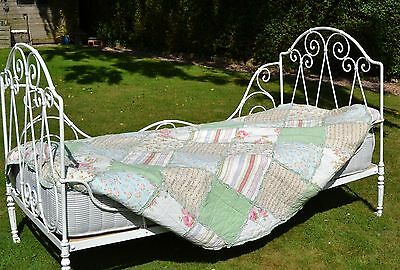 French antique folding day bed wrought iron with bespoke mattress
