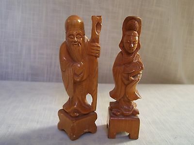 Chinese Figural Carved Wood Figurines Set of 2