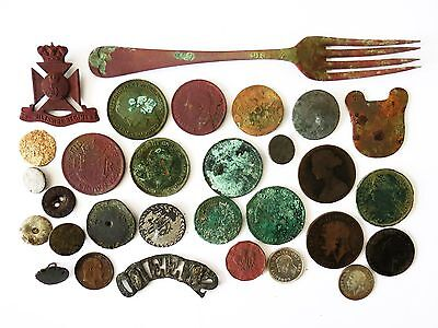 Collection Of Metal Detecting Finds Inc Silver Coins Wiltshire Regiment Badge